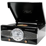 Groov-e Classic Vinyl Record Player with FM Radio & Built-in Speakers - Black GV-TT02-BK